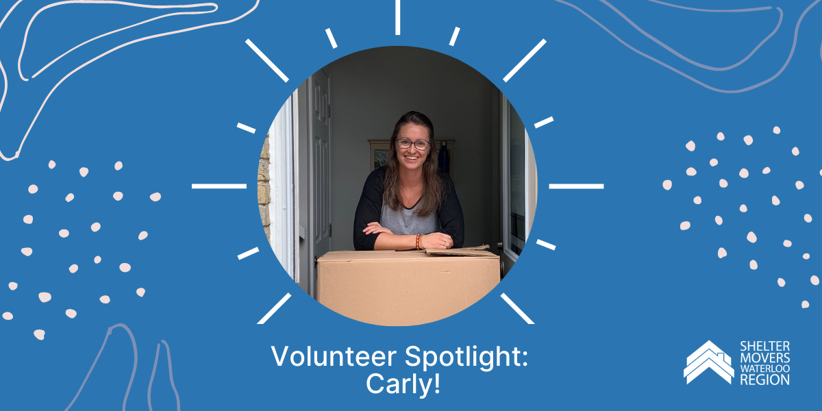 Image of Carly on a blue background. Text: Volunteer Spotlight: Carly
