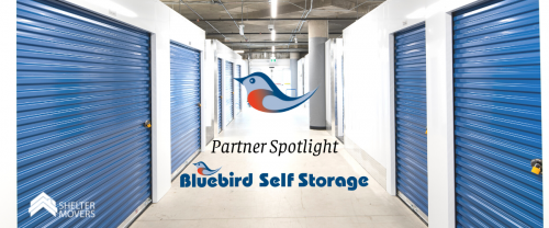 Blue storage units with text over image reading: Partner Spotlight Bluebird Self storage
